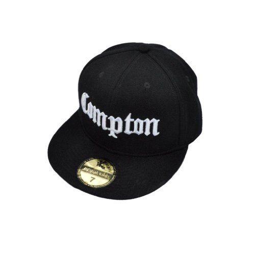 ea5518545fec2 New Compton Black Fitted Flat Peak Baseball Cap 7 7 8