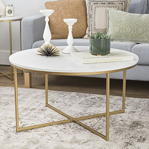 "WE Furniture 36"" Coffee Table with X Base Marble Gold"