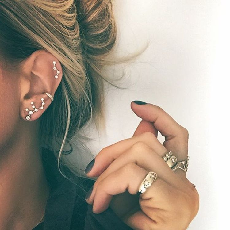 """""""Constellation Piercing"""" Trend Arranges Tiny Earrings All Over the Ear Like Stars in the Sky"""