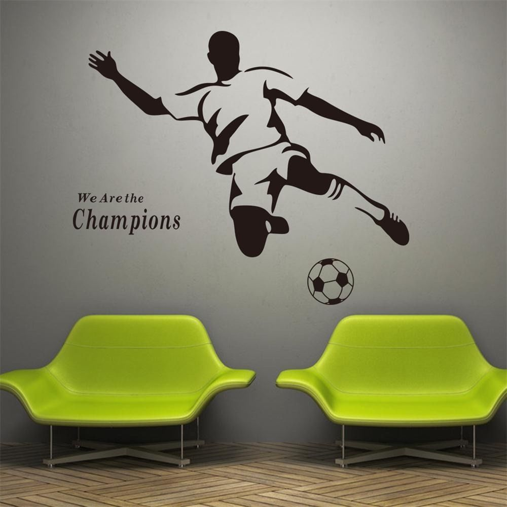 We Are Champion Sports Wall Sticker Vinyl Decal Football Soccer Boy Kids Room Wall Stickers Bedroom Sports Decorations Kid Room Decor