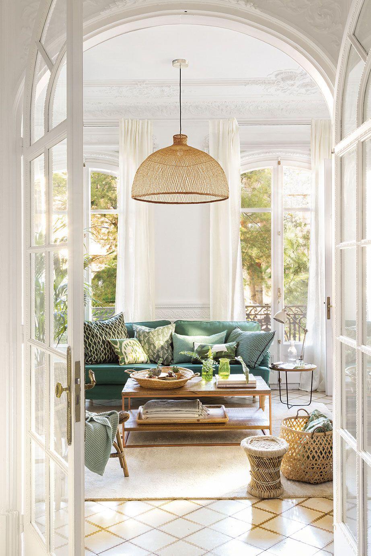 Verde como el bosque salones modernos y acogedores for Decoracion interiores salones