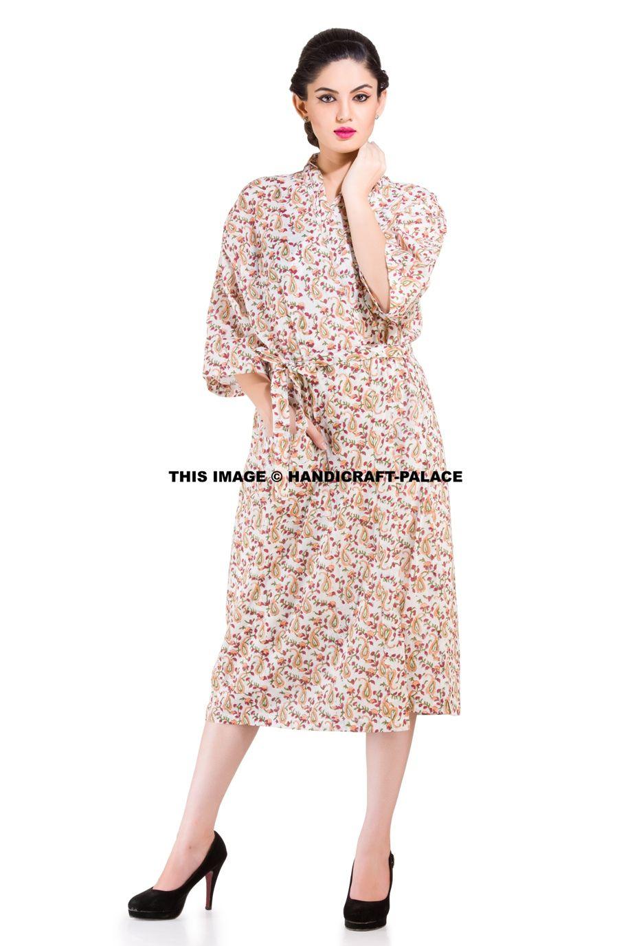 25a607e4e8 INDIAN Block Print Ethnic Cotton Bath Robe Kimono  bathrobe  kimono  gown   daygown