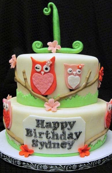 An owl cake for a baby shower