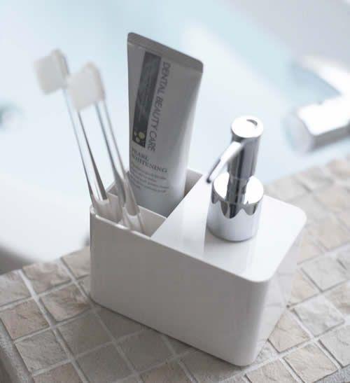 White Soap Dispenser And Toothbrush Holder