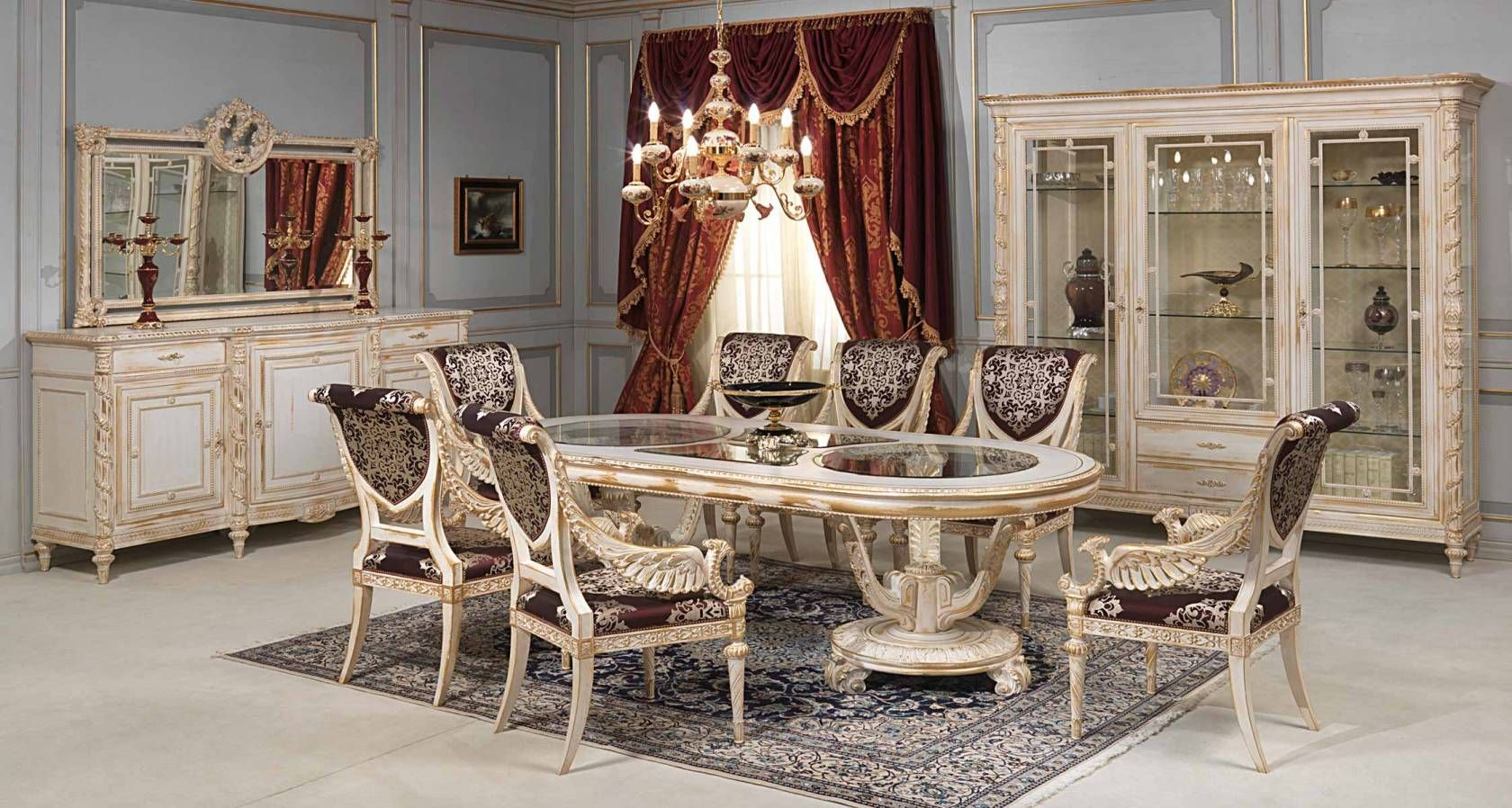 Luigi Xvi Style Dining Room White And Gold Collection Oval Table