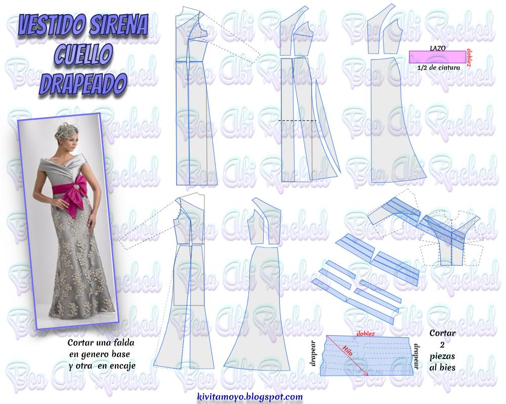 KiVita MoYo : VESTIDO SIRENA CUELLO DRAPEADO | Patrones de costura ...