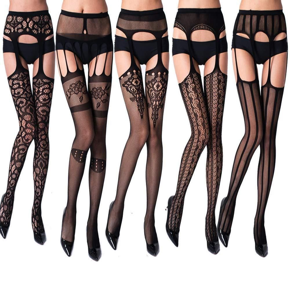 317a25341 5 Pair Thigh High Waist Tights Fishnet Stockings Flower Pattern Sock  Pantyhose  akiido  ThighHighs