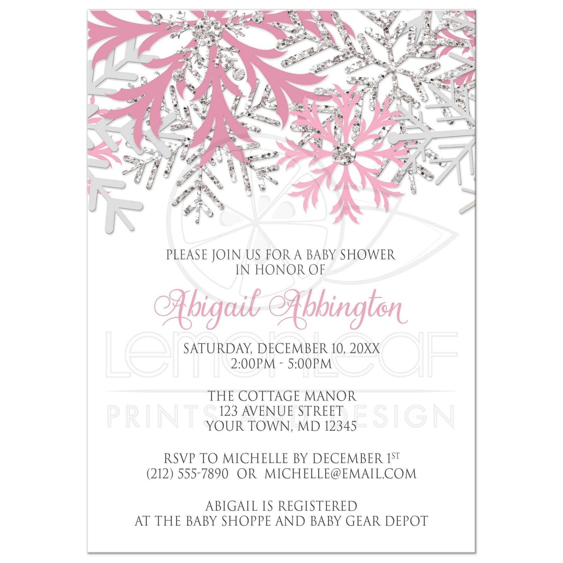 Baby Shower Invitations Winter Snowflake Pink Silver