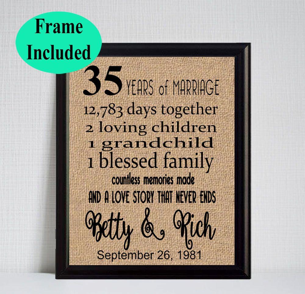 35 Year Wedding Anniversary 35th Anniversary Gift 35