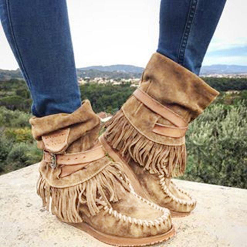 Women Suede Tassel Fringe Moccasin Winter Boot Casual Flat Slouch Mid Calf Shoes