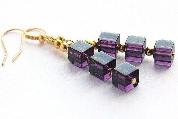 Photo of Boho Modern Geometric Earrings Purple Stacked Cube Earrings Silver or Gold Earrings Amethyst Glass Beaded Earrings Minimal amethyst jewelry