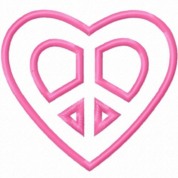 Heart Peace Sign Applique Machine Embroidery Design 4x4 5x5 6x6 Love ...