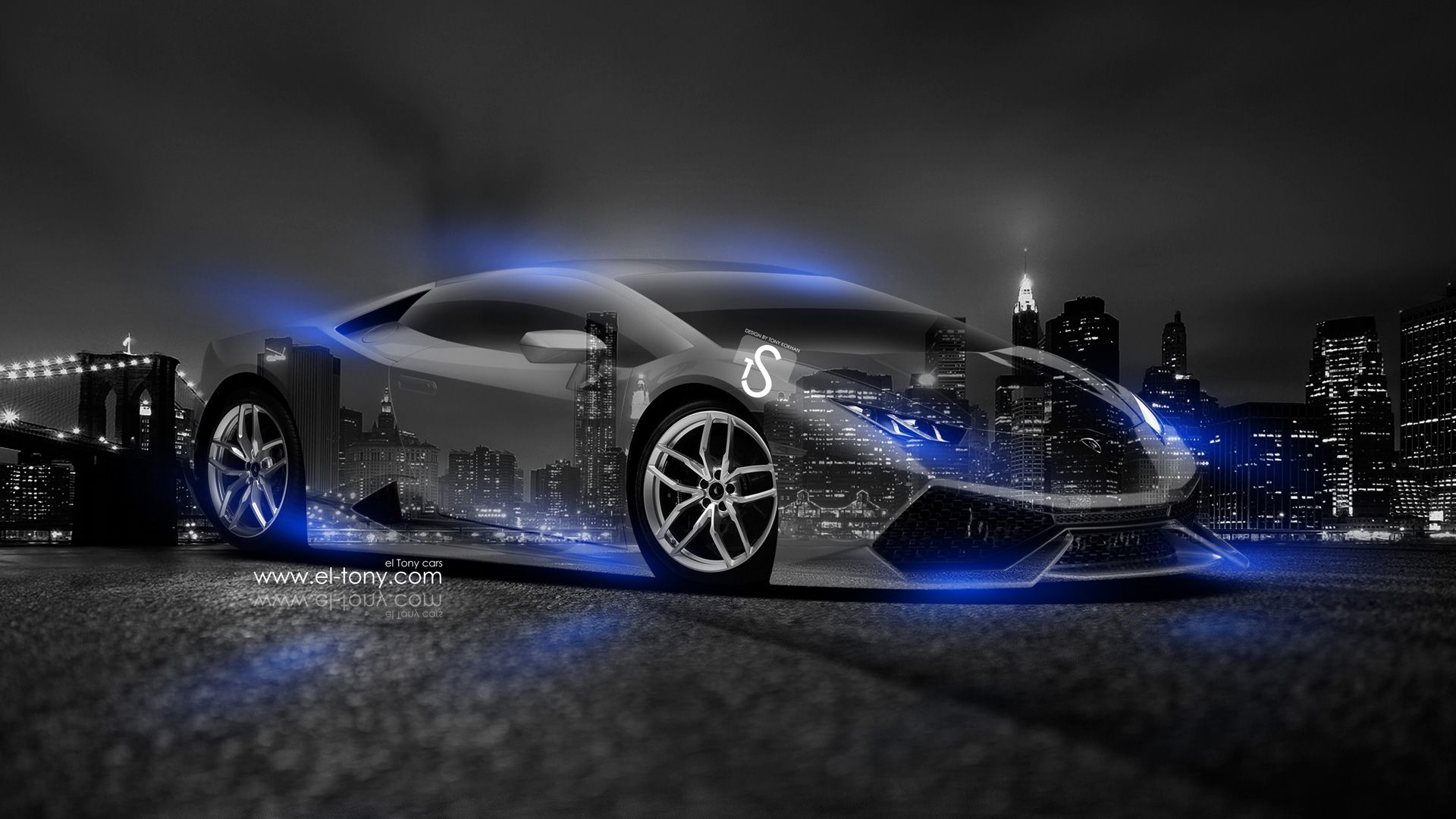 Beautiful Black Lamborghini With Neon Blue Lights | Lamborghini Huracan Crystal City  Car 2014 Blue Neon Design By Tony .