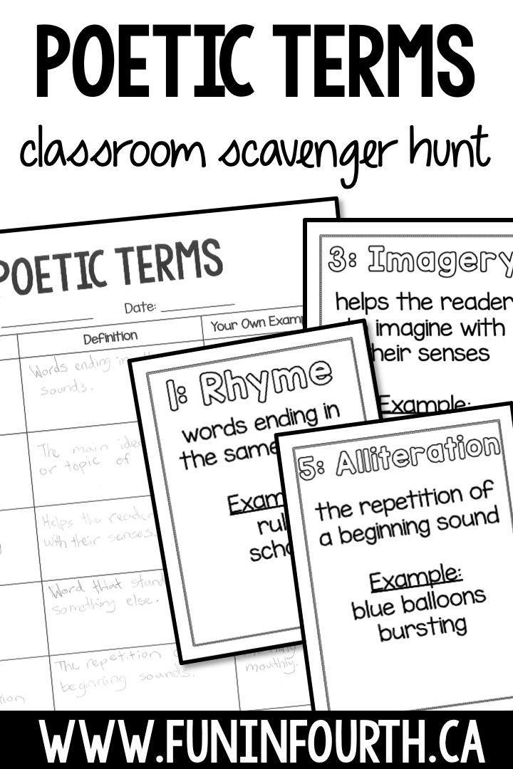 Be sure to check out this scavenger hunt for poetic terms