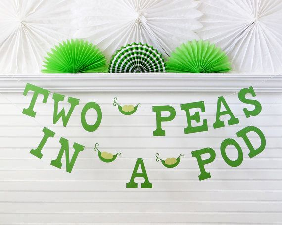 Two Peas In A Pod Banner 5 Inch Letters With Pea Baby Shower Twin 2 Decor