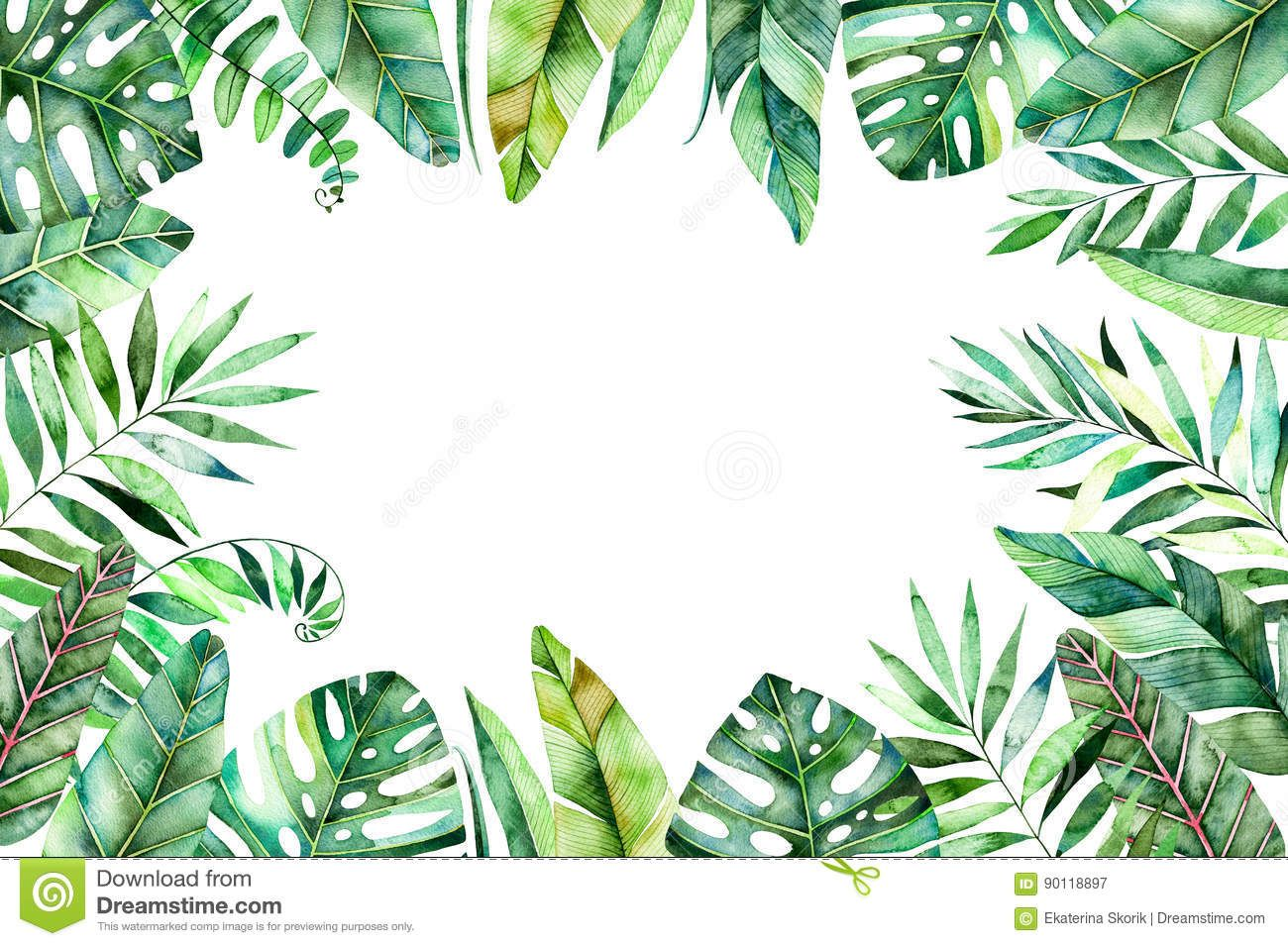Colorful Watercolor Frame Border With Colorful Tropical Leaves