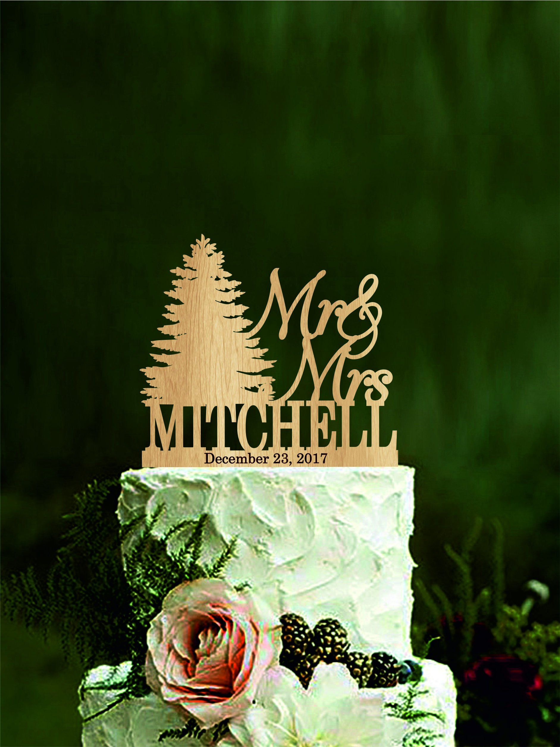 Christmas tree wedding cake topper personalized cake topper last