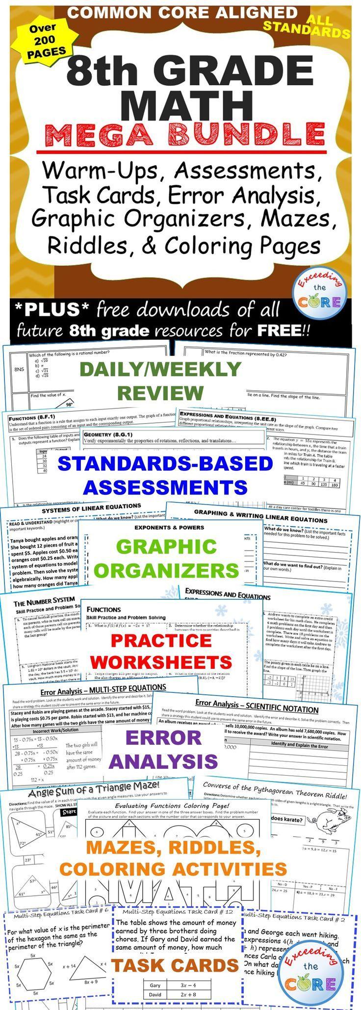 8th Grade Math Common Core Assessments Warm Ups Task Cards Worksheets 8th Grade Math Math Task Cards [ 2060 x 736 Pixel ]