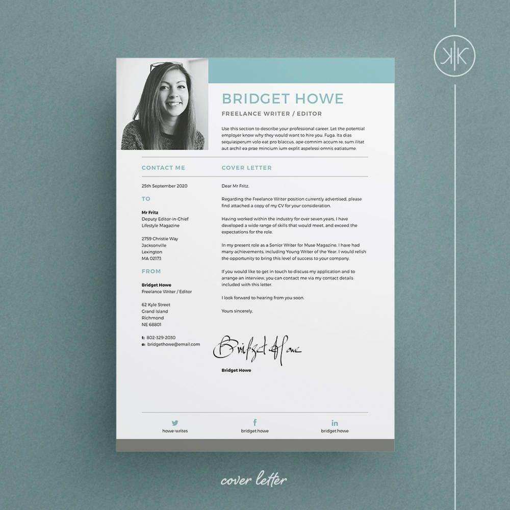 Bridget Resume/CV Template   Word   Photoshop   InDesign ...