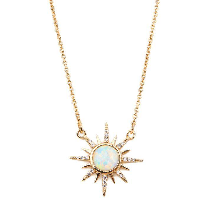 Photo of Gemstone Starburst Necklace – Opal – Elizabeth Stone Jewelry –   #