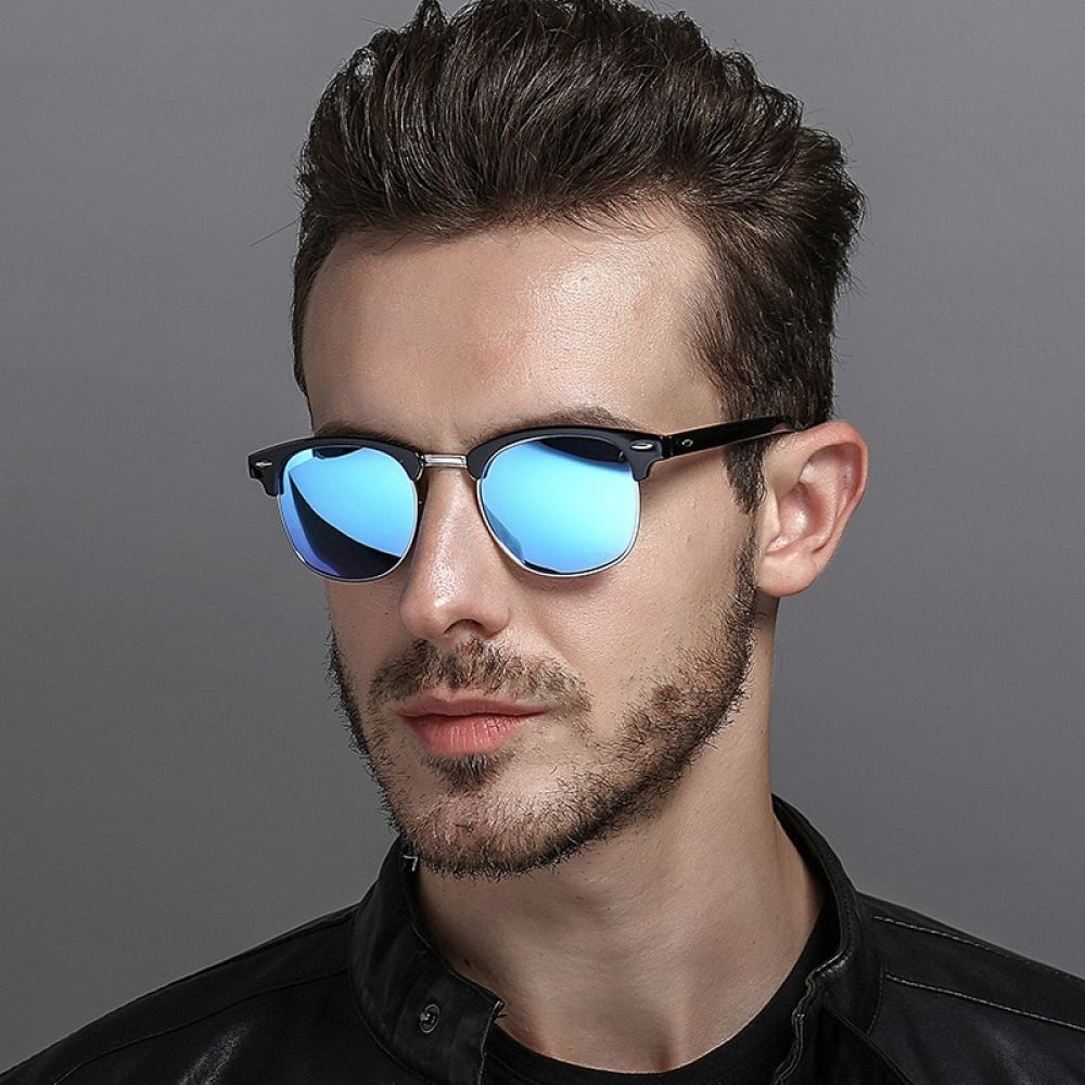 2019 Fashion Square Metal Polarized Sunglasses Retro Men Driving Glasses Eyewear
