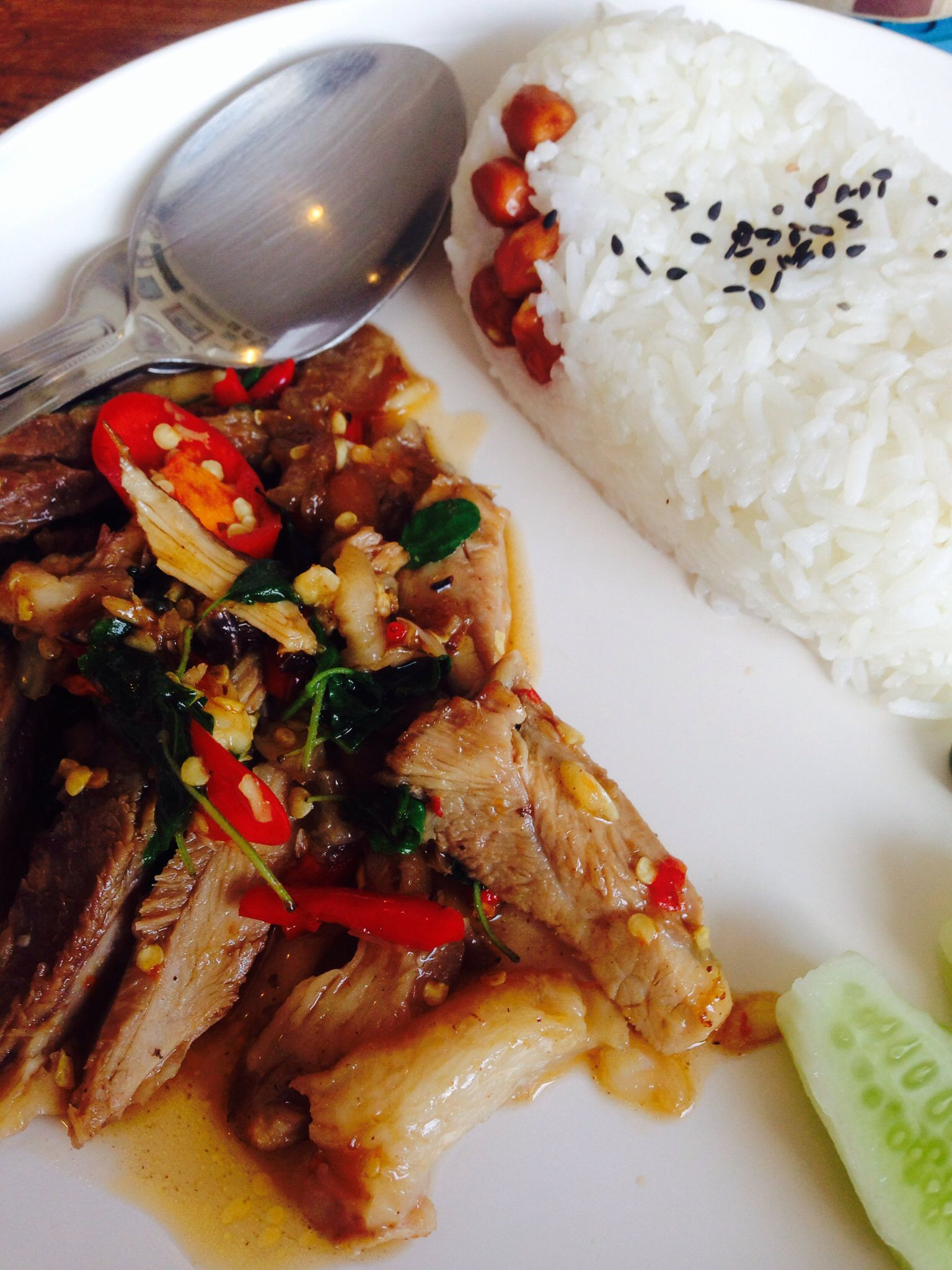 Belly pork stir-fried with Thai Hot Basil - Pad Kra Paow Ka Moo ^^