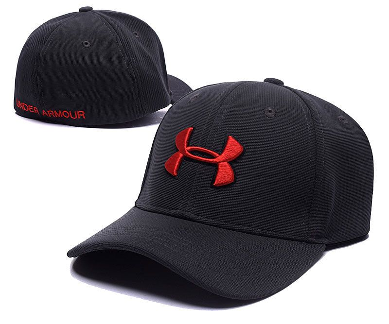 4b39a49edfd Men s   Women s Under Armour The UA Basic Embroidery Logo Flexfit Hat -  Black   Red