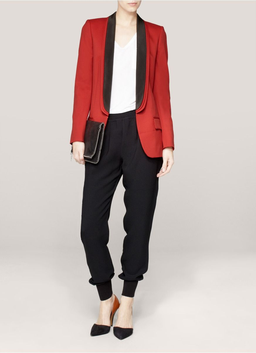 Stella Mccartney Triplelapel Wool Blazer in Red | Lyst