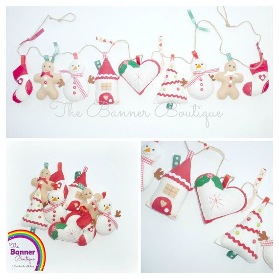 Sew your own Christmas Festive Garland Kit door TheBannerBoutiqueUK