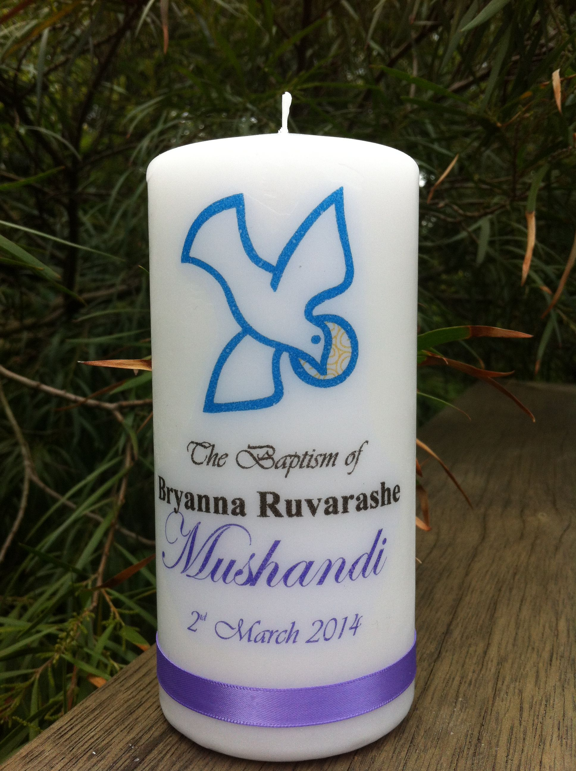 Personalised baptism candle with the dove matching the stole personalised baptism candle with the dove matching the stole buycottarizona Gallery