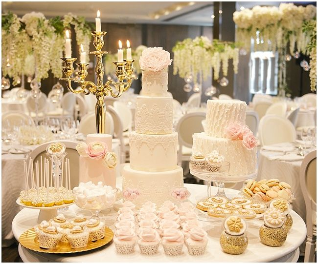 Wedding cake and dessert table - blush pink and ivory - Luxury ...