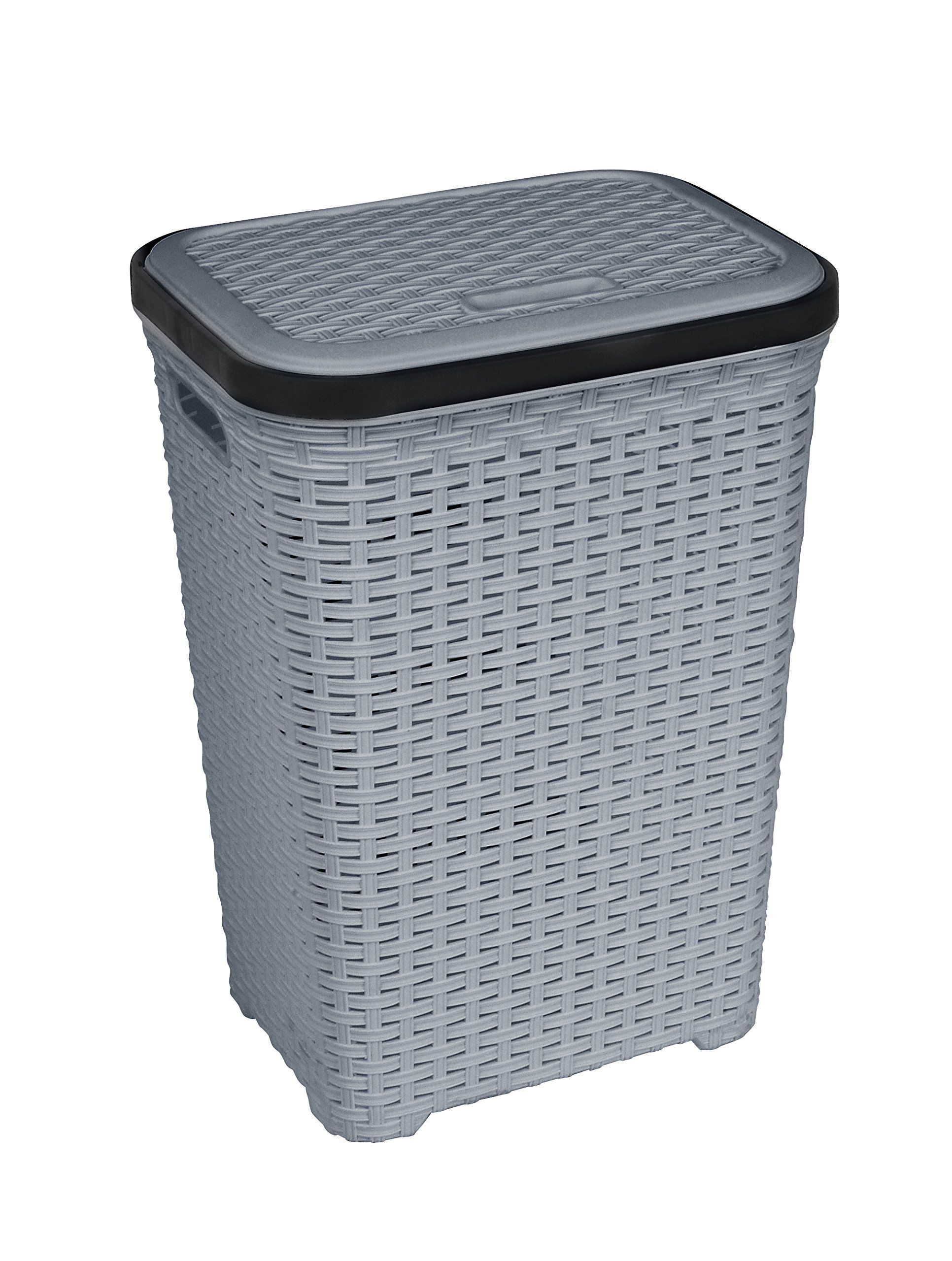 Rattan (Wicker Style) 1.7 Bushel Laundry Hamper (Grey Base and Black ...