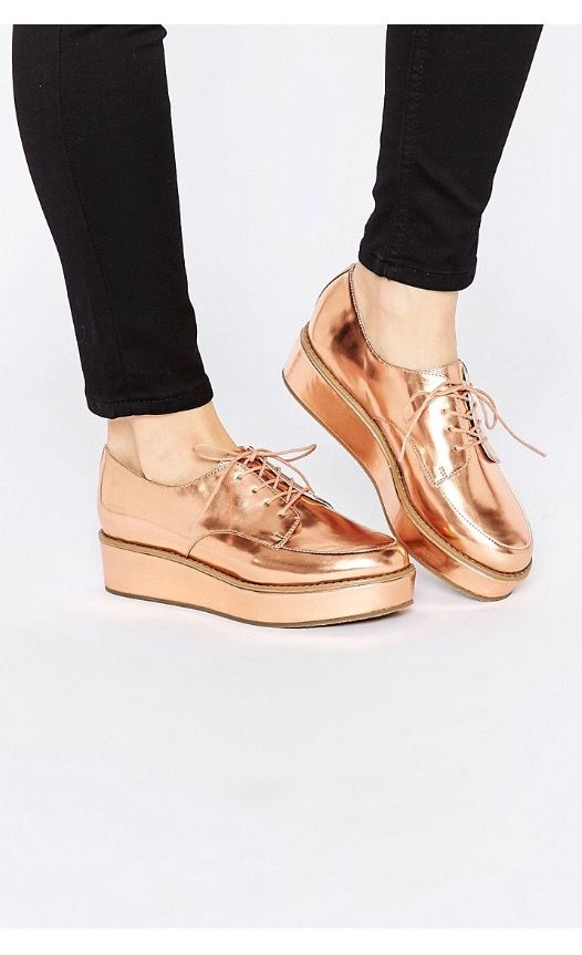 4bbc289f1aa Rose Gold oxford platform shoes