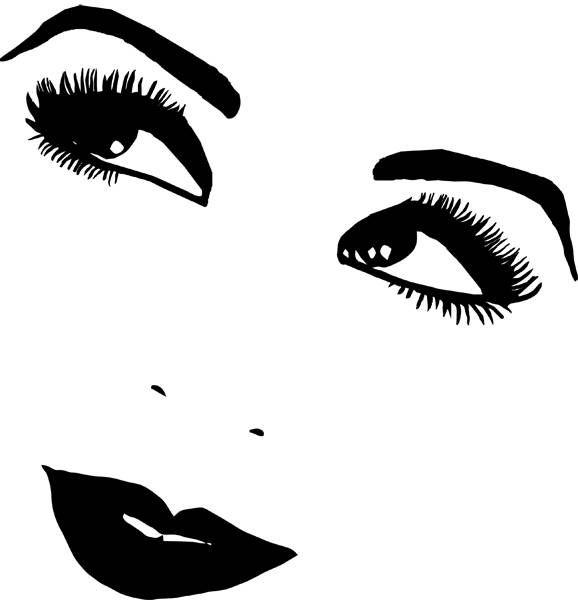 1920s Woman Smiling Eyes Lips Png Clipart Digital Stamp Digital