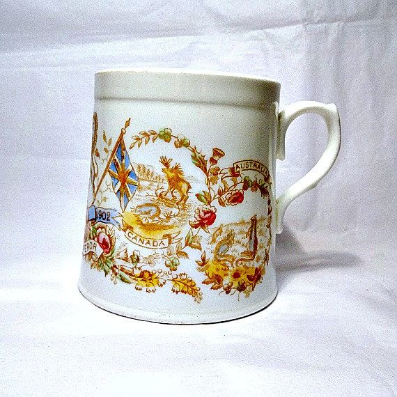 Charming Gorgeous Antique Cup Commemorating The 1902 Coronation Of King Edward VII.  I Love The Design Of This   The Moose From Canada, Indian Elephants, ...