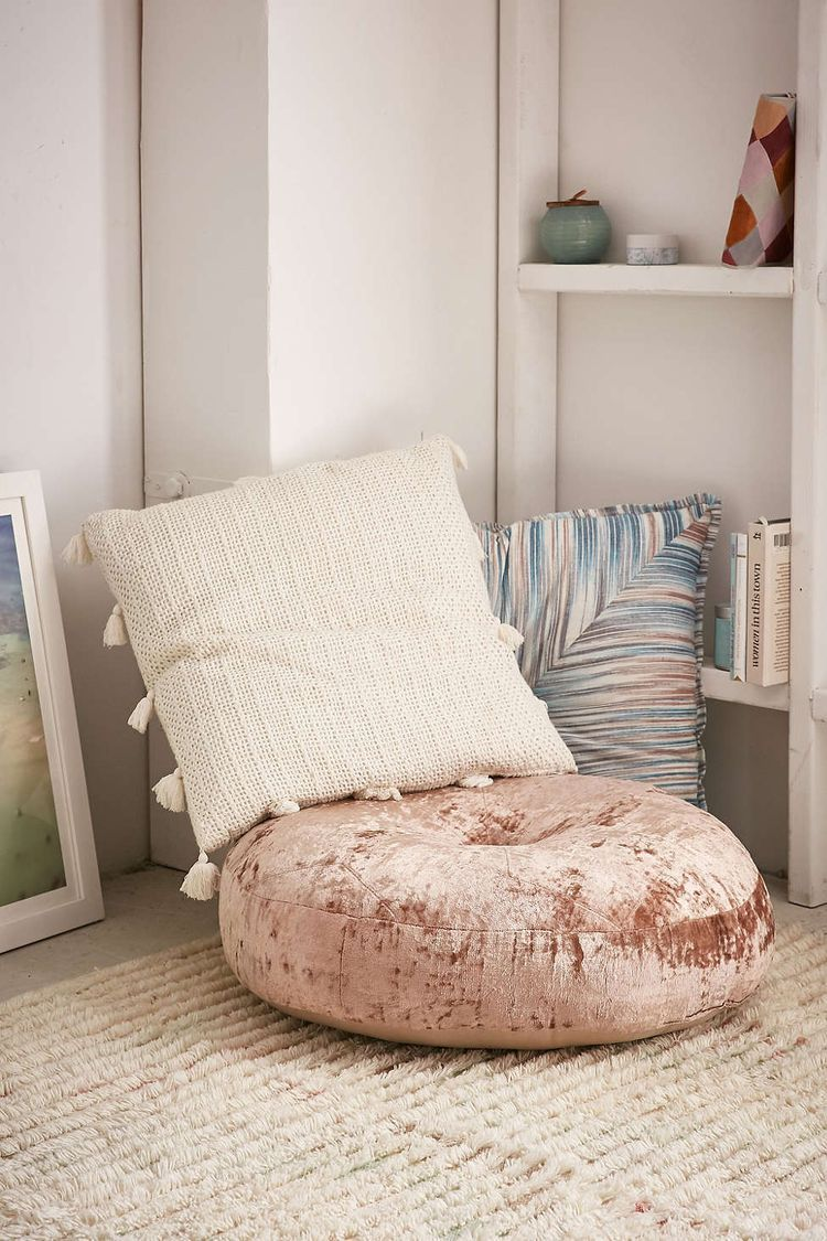 Amya Velvet Pillow Pouf
