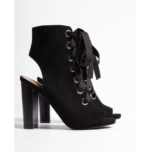c322435c1ff9 Express Thick Lace Peep-toe Booties ( 80) ❤ liked on Polyvore featuring  shoes