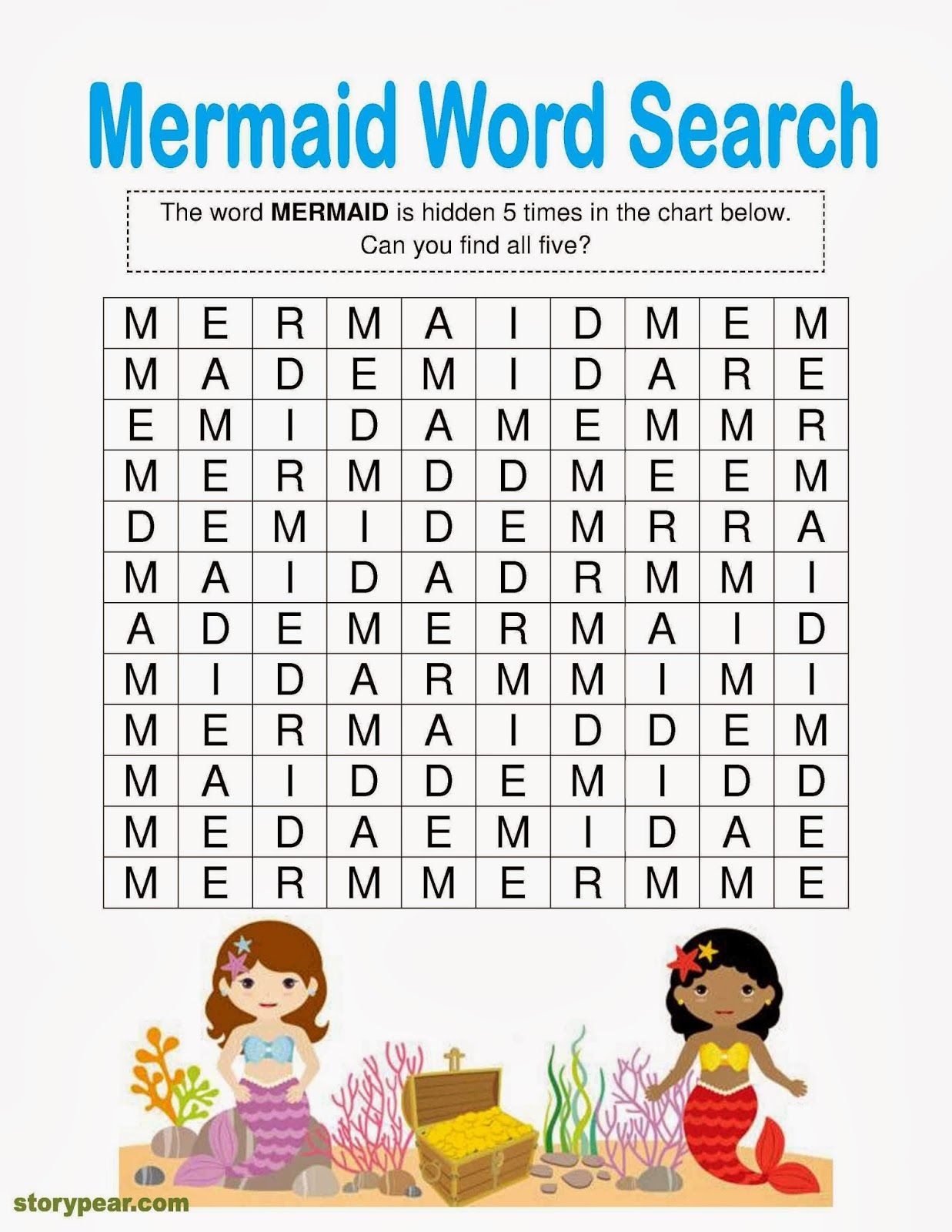 Mermaids Free Word Finder Activity Attached