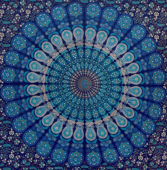 Blau Hippie Hippy Wand Hängen Indische Mandala Von F9appreal ... Blau Fr Dachschrage