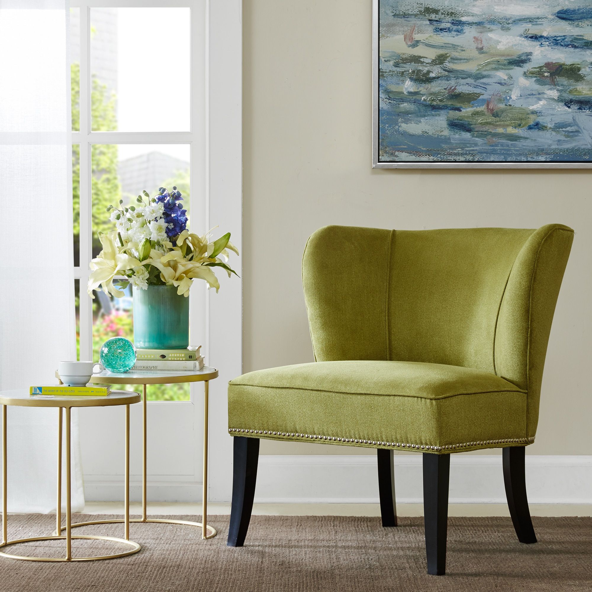 Beau Madison Park Sheldon Green Armless Accent Chair (30.25W X 28.75D X 33.5H