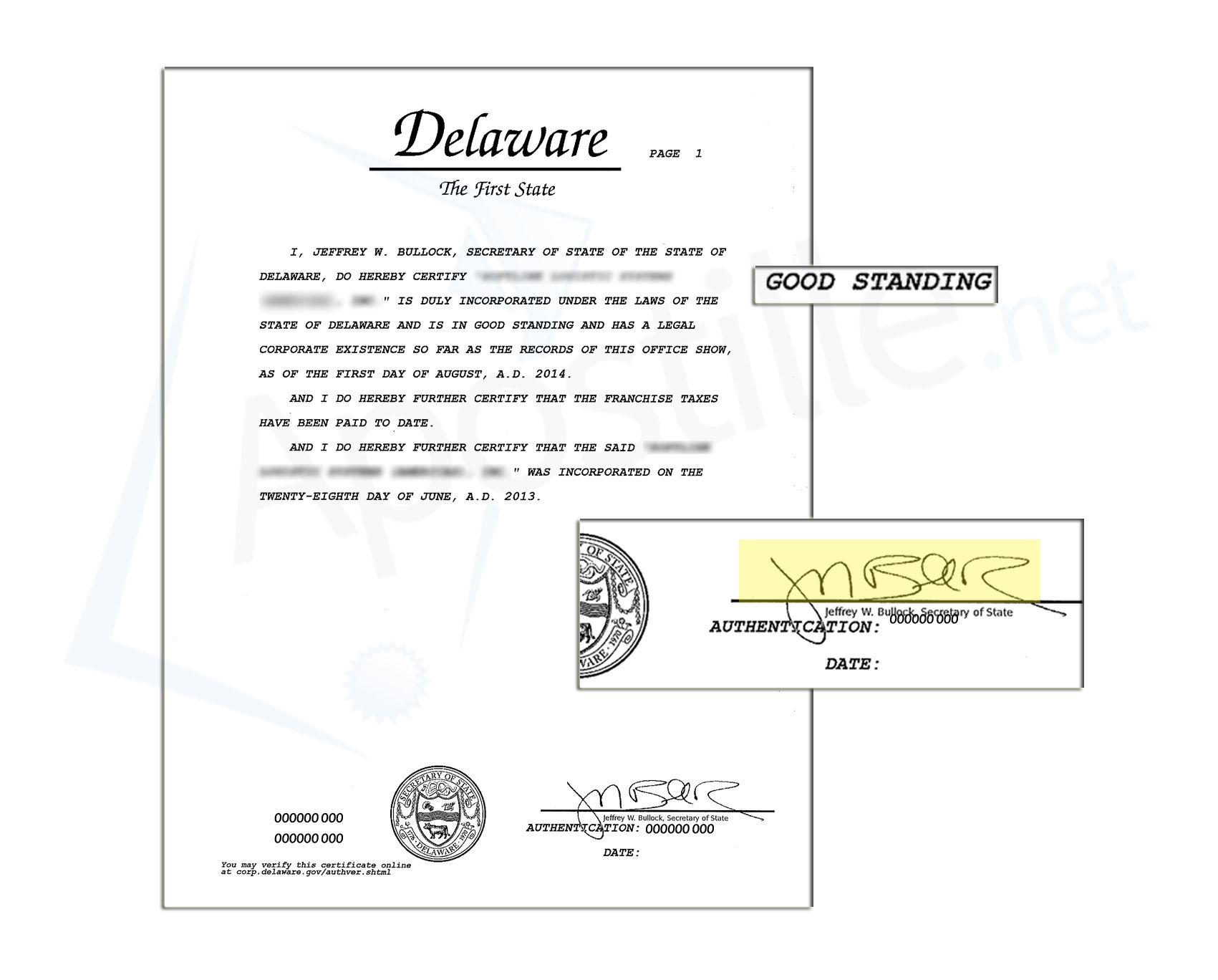 Delaware Certificate Of Good Standing State Of Delaware Sample