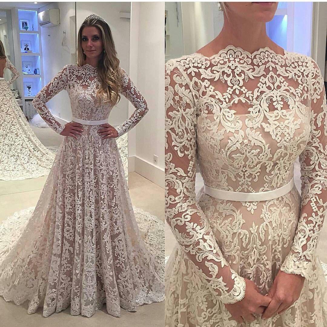 Long sleeve prom dresslace prom dressfashion bridal dresssexy