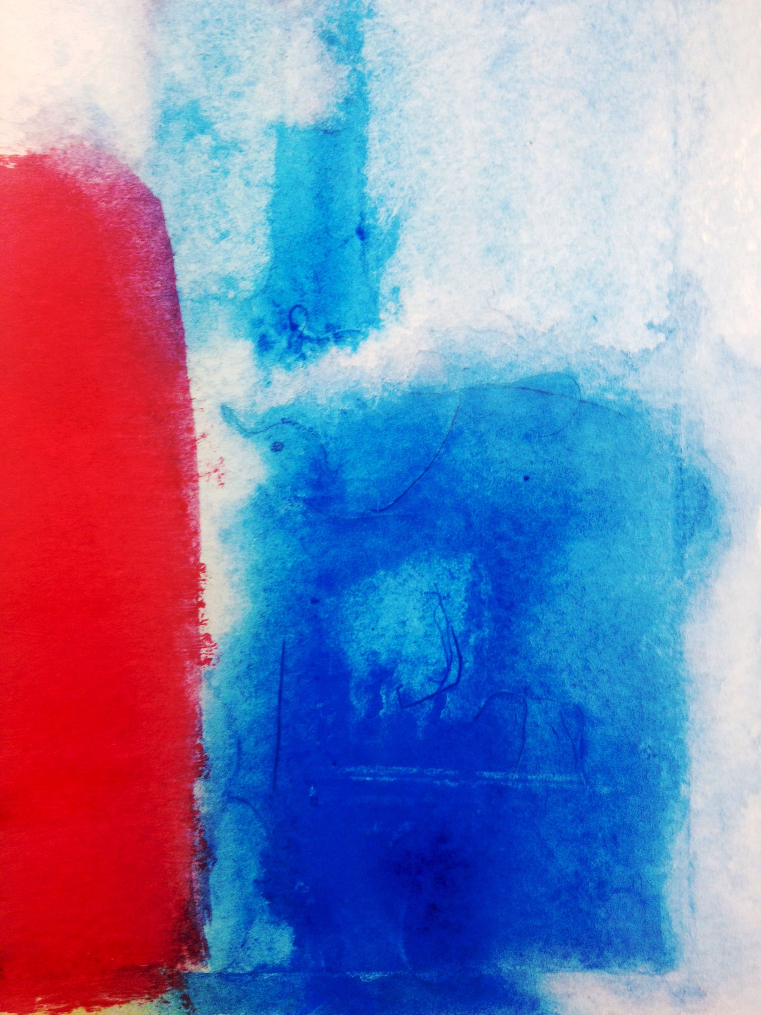 """""""Calm After the Storm""""     acrylic and water color on paper     3 1/2"""" x 5 1/2"""""""