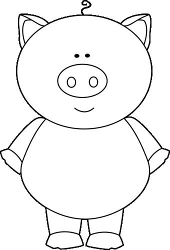 cute pig clip art | ... Pig Clip Art Image - black and ...