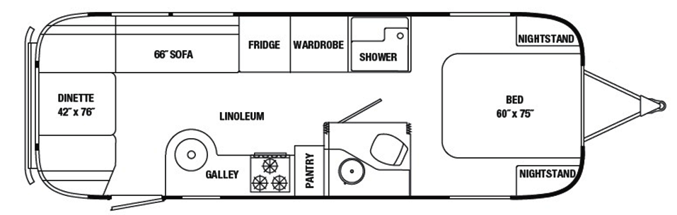 The Vintage Airstream 27 Foot Travel Trailer Floor Plans Travel Trailer Floor Plans Airstream Travel Trailers Diy Travel Trailer