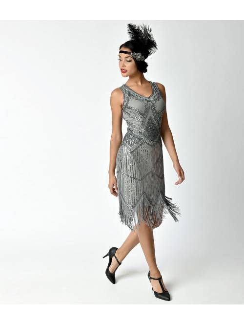 b25af199335 Unique Vintage 1920s Grey Beaded Sequin Juliette Fringe Flapper Dress