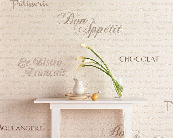 French Wall Art Stencil Set- French Bistro Set Typography Stencil ...