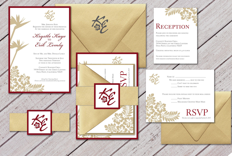 Glamorous Wedding Invitation, Red and Gold wedding Invitation ...