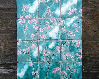 Handgemaakte keramische tegels, roze kersenbloesem unieke smaragd ...