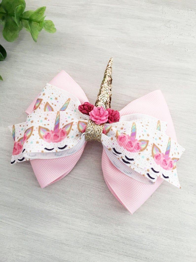 girls pink hair bow newborn headbands and bows toddler hair bows unicorn headband girls headband Unicorn hair bow